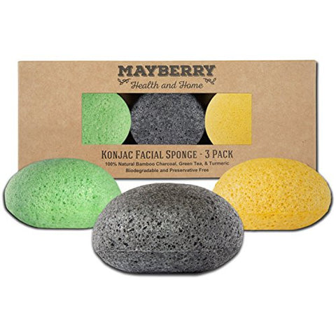 Konjac Exfoliating Sponge with Bamboo Charcoal, Green Tea, and Turmeric – - 100% Natural Face Sponge for Improving Skin's Look and Feel - Each with Attached String for Hanging to Dry