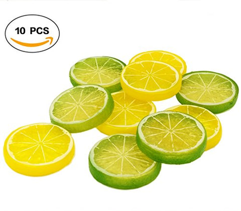R.FLOWER 10PCS Yellow Green Highly Simulation Fake Lemon Slice Mixed color Artificial Fruit Model Home Party Decoration