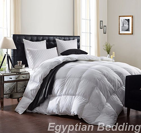 LUXURIOUS 1200 Thread Count GOOSE DOWN Comforter , King Size, 1200TC - 100% Egyptian Cotton Cover, 750 Fill Power, 50 Oz Fill Weight, White Color