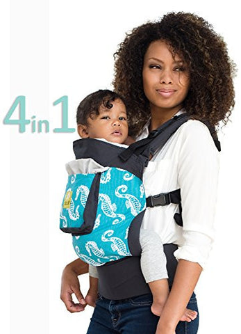 LILLEbaby 4 in 1 ESSENTIALS Baby Carrier - Charcoal w/ Seahorses