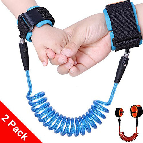 [Enhancement] [2 Pack] Child Anti Lost Belt, Wimaha Safe Skin Friendly Anti Pricking Cotton Wrist Straps,1.5m & 2.5m/ Orange & Blue