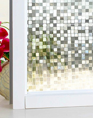 DuoFire Stained Privacy Glass Film Non-adhesive Static Cling Window Film DL014(23.6 x 78.7 Inch)