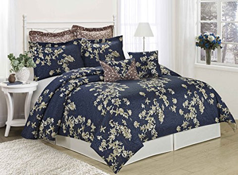 MF 8PC Printing New Designs Comforter Set Queen King CalKing Size (King, Sojourn-navy)