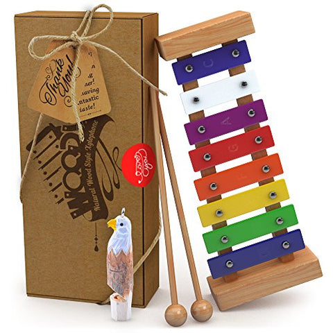 Wooden Xylophone with Free Eagle Whistle for Kids: Best for Your Little Musician-Create Magical Sounds with Little Hands-With Multi-Colored Metal Keys and Two Child-Safe Wooden Mallets