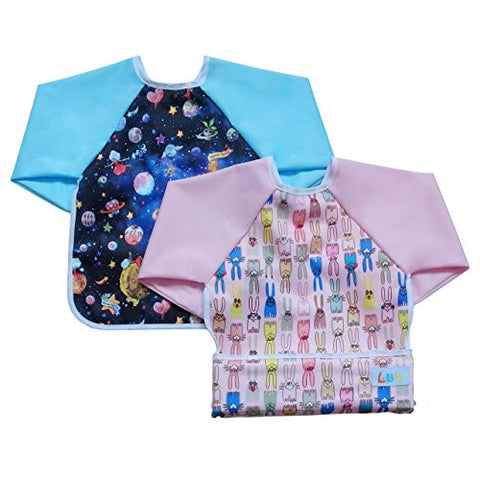 LBB Baby Bibs And Burp Cloths(2pcs Pack)Fit babies 6-36 Months,Rabbits and Universe
