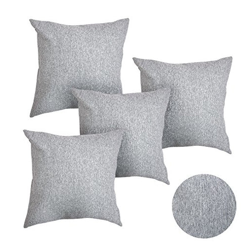 Deconovo Super Soft Melange Fabric Decorative Pillow Shams Cushion Cases with Hidden Zipper Toss Pillow Covers for Sofa 18 x 18 Inch Light Grey Set of 4 ( Case Only, No Insert )