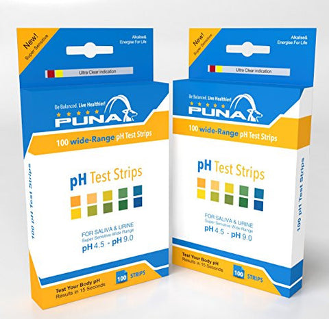Puna Ph Test Strips for Saliva, Urine, Water, Pool, Hot Tub and Lamotte - Get Results in 15 Seconds - Ph 4.5 - Ph 9.0 - 100 Strips