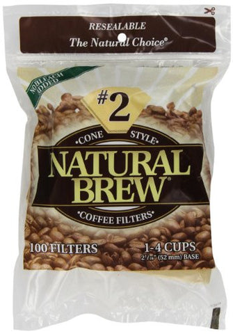 Natural Brew #2 Cone Coffee Filters, Natural Brown Paper, 100-Count Bags