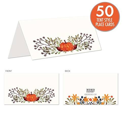 Rustic Fall Place Cards with Pumpkin and Autumn Leaves. Tent Style Cards for Thanksgiving, Bridal Showers, Dinner Parties, Birthdays, Harvest Parties, or Any Occasion. No Holder Necessary.