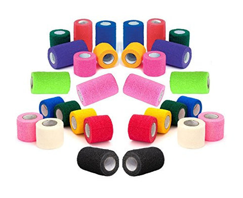 4 Athletic Tape Bulk Sports Stretch Power Wrap, Self Adherent Wrap Flex Tape, Self Adhering Stick Bandage, Self Grip Roll - 4 inches x 15' Feet - 24 Rolls - Assorted Colors