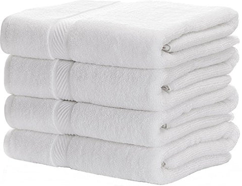 Premium Bath Towels, Circlet Egyptian Cotton White Towel Set, Hotel Quality Soft and Highly Absorbency Towels (27x54 Inch)