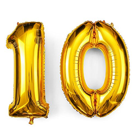 34inch 10th Gold Number Balloon Party Festival Decorations Jumbo Foil Helium Balloons Party Supplies use them as Props for Photos (34inch gold number 10)-Golf