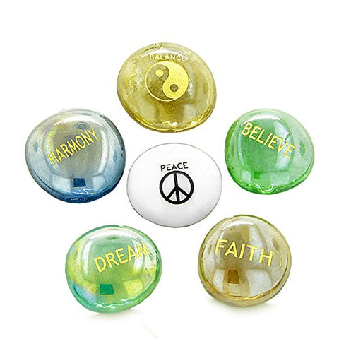 Inspirational Amulets Focus Yin Yang Balance Good Luck Glass Engraved Stones
