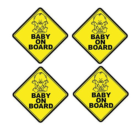 Mandala Crafts Baby On Board Front Adhesive Vinyl Decal Safety Yellow Signs