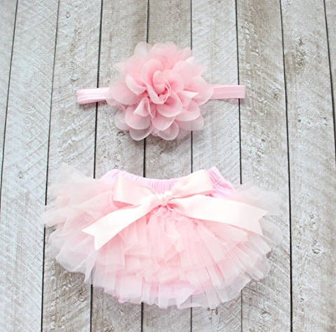 Ruffle Tutu Bloomer & Lace Flower Infant Headband Set, Newborn Baby Girl, Ballet Pink