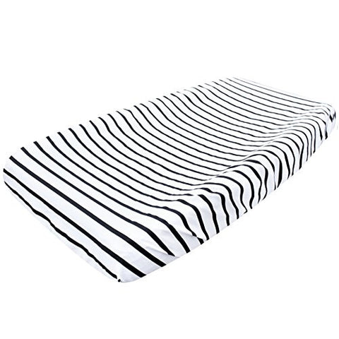 Premium Cotton Diaper Changing Pad Cover City Black and White Stripes by Copper Pearl