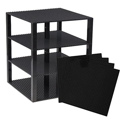 Premium Black Stackable Base Plates - 10 x 10 Baseplate Bundle with 30 New and Improved 2x2 Stackers - Compatible with All Major Brands - Tower Construction