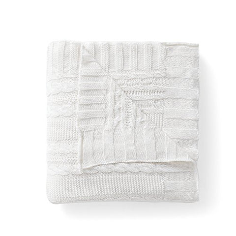 Twin Size Throw Blanket in White Textured Elegance & Light Warmth   50  x 70