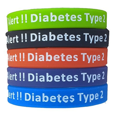 Type 2 Diabetes Bracelets Silicone Medical Alert Wristbands