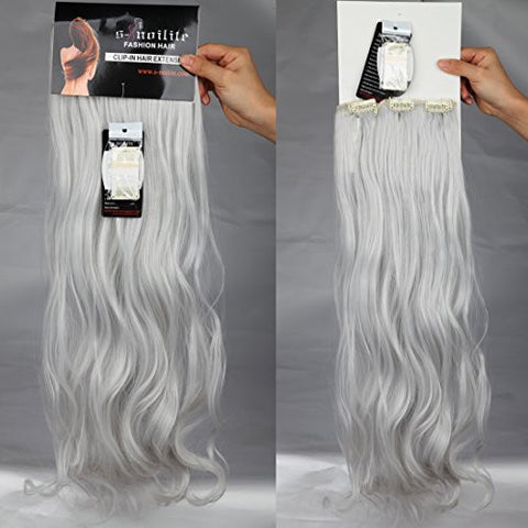 24 Inches Silver Grey Long Curly Wavy Clip in on 8 Pieces Full Head Set Hair Extensions 8pcs Hairpiece