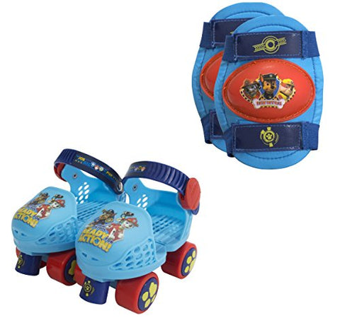 PlayWheels PAW Patrol Kids Roller Skates with Knee Pads - Junior Size 6-12