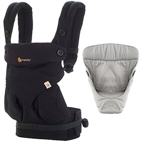 Ergobaby Bundle - 2 Items: Pure Black Four Position 360 Baby Carrier and Easy Snug Infant Insert Grey