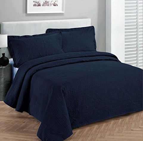 Fancy Collection 3pc Luxury Bedspread Coverlet Embossed Bed Cover Solid Navy Blue Over Size Full/Queen 100 x 106  New