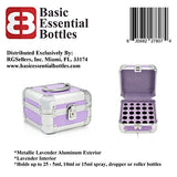 Basic Essential Bottles Aluminum Essential Oils Carrying Case, Holds up to 25 (5-15ml) Bottles, Metallic Lavender