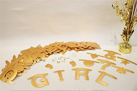 SUNBEAUTY Gold Customizable Letters&Symbols Banner Decoration Kit Themed Party Banner for Birthday Wedding Showers Photo Props Window Decor (Gold)