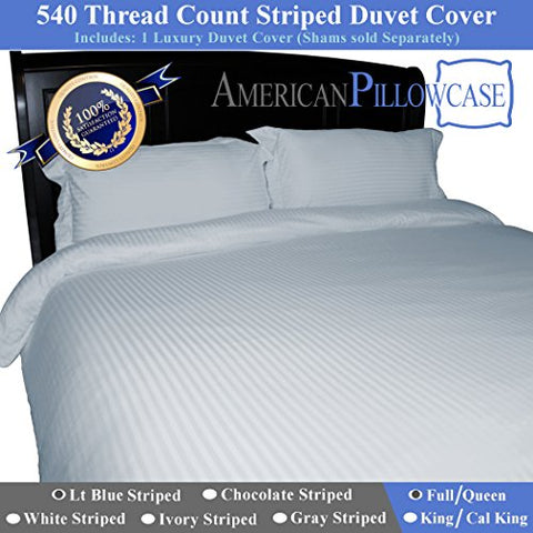 American Pillowcase 100% Egyptian Cotton, 540 Thread Count Duvet Cover with Wrinkle Guard - Full/Queen, Light Blue