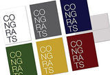 72 Note Cards - Modern Congrats - 6 Designs - Gray Envelopes Included