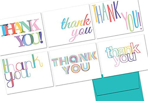 Rainbow Thank You - 36 Note Cards - 6 Designs - Aqua Blue Envelopes Included