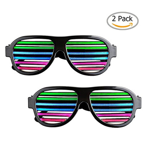 Light up LED Glasses Sourcingbay Multi Color Sound & Music Flashing Light Rechargeable Eyeglasses with USB Charger for Kids and Adults in Disco, Party, Halloween, Christmas Gifts