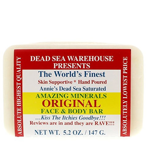 Dead Sea Warehouse - Amazing Minerals Original Face & Body Soap Bar, Soothing Dead Sea Salt Supports Clear & Healthy Skin, Great for All Skin Types, Sensitive Skin Friendly (Unscented, 5.2 Ounces)