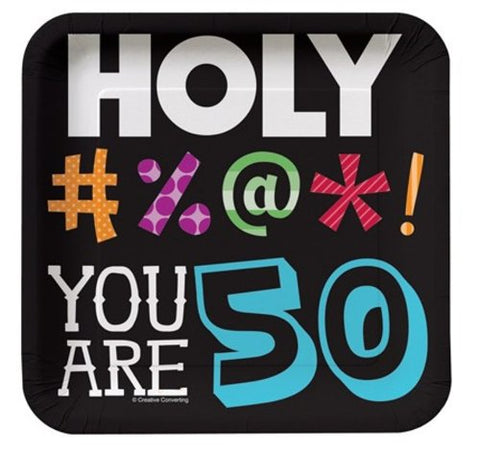 Creative Converting 8 Count Holy Bleep 50th Birthday Square Dessert Plates