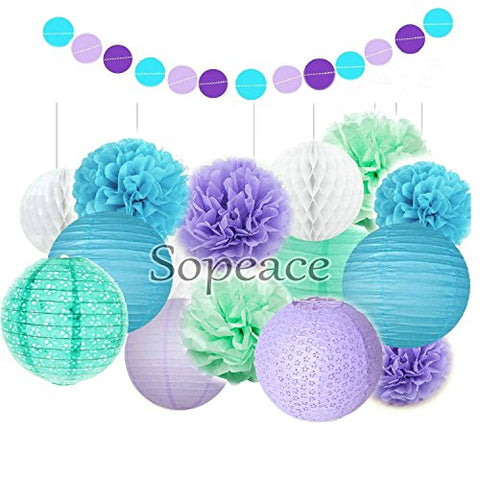 Sopeace Tissue Pom Poms Flowers Paper Lanterns and Polka Dot Paper Garland for Mermaids Under the Sea Theme Bridal Shower Wedding Ball Party Supplies Decoration