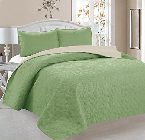 Deluxe Greek Design Reversible 3pc Coverlet Quilt Set BedSpread  FULL/QUEEN Size  Sage / Tan