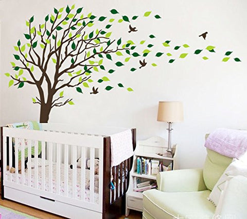 Large Brown and Green Tree Blowing in the Wind Tree Wall Decals Wall Sticker Vinyl Art Kids Rooms Teen Girls Boys Wallpaper Murals Sticker Wall Stickers Nursery Decor Nursery Decals