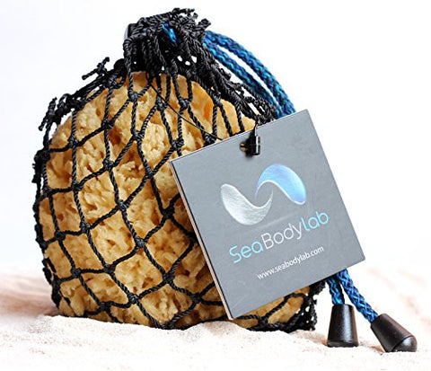 Luxury Natural Sea Yellow Bath Sponge 4-5 in a Real Hand Made Fishing Net, a Natural Renewable Resource
