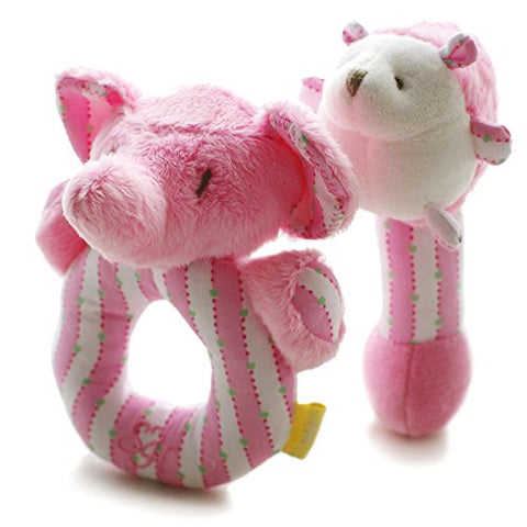 SHILOH Baby Elephant and Hedgehog Plush Rattle 2 count Pink 4.8inX5.6in