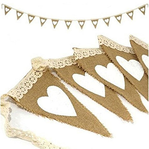 OZXCHIXU(TM) Vintage Heart Jute Burlap Bunting Banner Hessian Flag for Wedding Party Decoration White Lace 2.5m