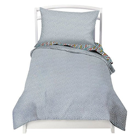 Twin Blue Gray Herringbone Duvet Cover Set with 1 Pillowcase for Kids Bedding - Double Brushed Microfiber by Where The Polka Dots Roam (68  L X 86  W)