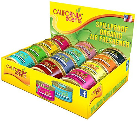 California Scents Spillproof Organic Air-Freshener 12-Unit Counter Display/Assorted, 1.5 Ounce Canister