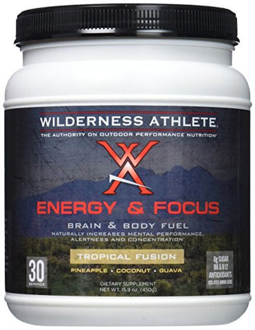 Wilderness Athlete Energy and Focus Powder, Tropical Fusion, 15.9 ounce