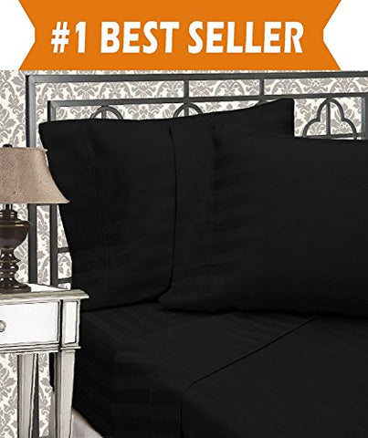 Elegant Comfort Best, Softest, Coziest 3-Piece Duvet Cover Sets! - 1500 Thread Count Egyptian Quality Luxurious Wrinkle Resistant 3-Piece DAMASK STRIPE Duvet Cover Set, King/Cal-King, Black