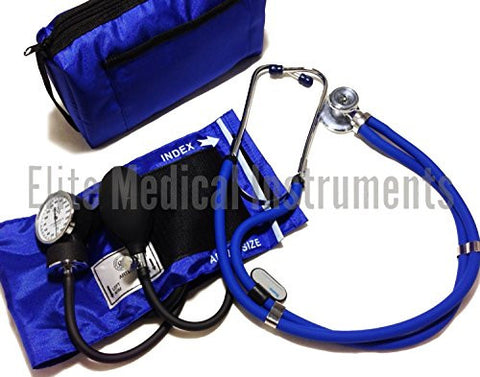 EMI ROYAL BLUE Sprague Rappaport Stethoscope and Aneroid Sphygmomanometer Blood Pressure Set Kit - #330