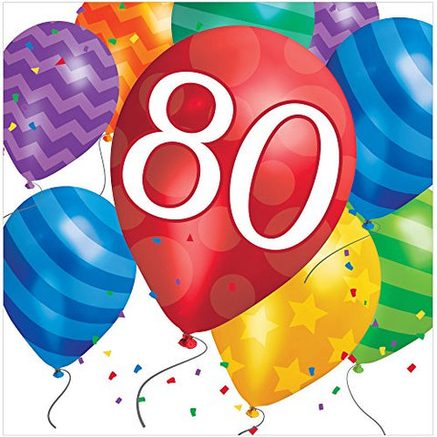 Creative Converting 16 Count 80th Birthday Balloon Blast Lunch Napkins, Multicolor
