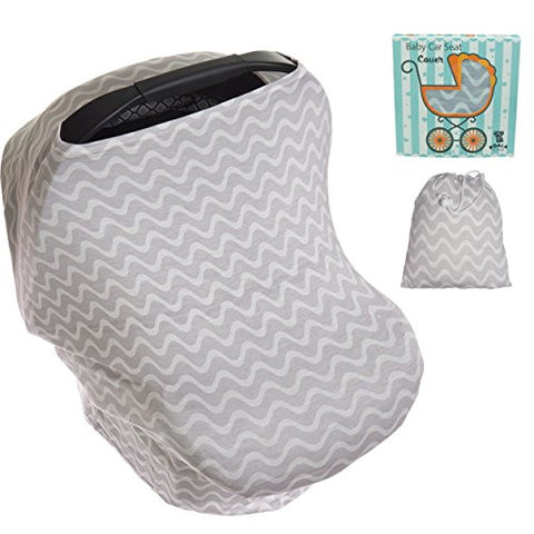 Koala Little Stretchy Car Seat Covers, Multi-Use Carseat Canopy Girl Or Boy, Shopping Cart And Nursing Cover For Breastfeeding Moms. Fits Most Infant Car Seats! Best Baby Shower Gift!  White/Black