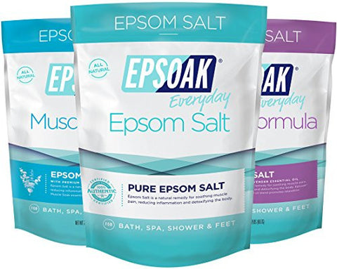 Ultimate Epsoak Epsom Salt Bath Soak Bundle (6lbs) –  Sleep Formula Bath Salt, Muscle Soak Bath Salt, Original Unscented Epsom Salts
