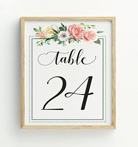 Darling Souvenir Calligraphy 1-50 Floral Table Numbers Wedding Reception Dcor Table Cards (4x6 Inches)